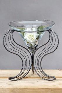WOHNAMBIENTE Art.-Nr.: 49197 Verkauft ! Korsika III, Deko-Glas. Maße: Gesamthöhe bis Oberkante Glas 38 cm, Glas d max.:29 cm, Fußfläche am Boden ca. d= 34 cm.