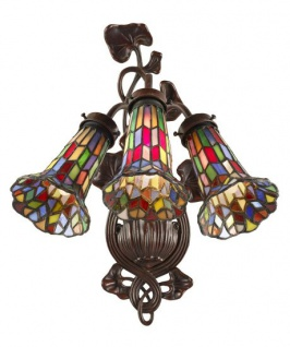 WOHNAMBIENTE Tiffany-Lampe Art.-Nr.: 7303-3+T Maße: Schirmbreite 34 cm, Höhe 40 cm.