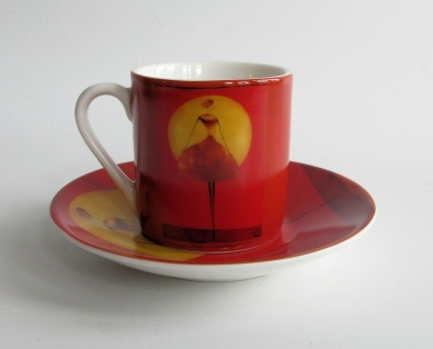 """WOHNAMBIENTE Porzella, Geschirr Art.-Nr.: = 102 Porzellan-Espressoset """" Clair de lune 1"""" von ONA. Maße: Tasse h= 5, 5 cm, d= 5, 2 cm,"""