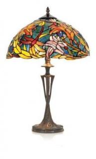 WOHNAMBIENTE Tiffany Tischlampe Art.-Nr.: KT 2753 + PBLM 11 Maße d= 40 cm, Leuchtenhöhe 60 cm, Fassung 2 x E27.