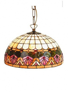 WOHNAMBIENTE Tiffany-Lampe, Hängelampe Art.-Nr.: DT 25 + C2 Schirm d= 40 cm, Kettenlänge incl. Baldachin 60 cm, Fassung 2 x E27