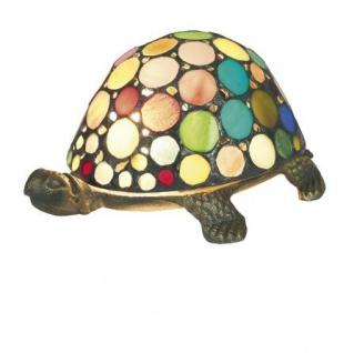 WOHNAMBIENTE Tiffany Tischlampe Art.-Nr.: M 197 P Breite ca. 21 cm, Fassung 1 x E14 max. 15 Watt. Tiffany Lampe Schildkröte Lieferung komplett mit Leuchtmittel. Auch in den Farben Grün, Beige, Blau und Pearl lieferbar (entsprechend den Abbildungen).