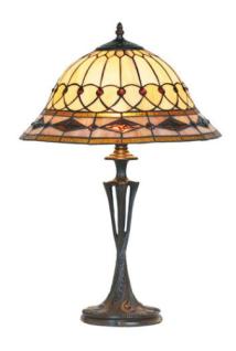 WOHNAMBIENTE Tiffany Tischlampe Art.-Nr.: SP 16007 + PBLM 11 Schirm d= 40 cm, Leuchtenhöhe 59 cm, Fassung 2 x E27.