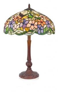 WOHNAMBIENTE Tiffany-Lampe Art.-Nr.: 161543 + P 933 L Schirm d= 40 cm, Fassung 2 x E27. Gesamthöhe der Leuchte 62 cm.