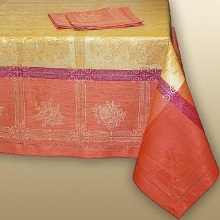 WOHNAMBIENTE Art.-Nr.: 1112, Tischdecke, 170 x 170 cm, 100% Reines Leinen, Jacquard-Gewebe mit Hohlsaum, Design: Natali, Farbe: Orange-Yellow.