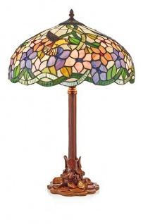 WOHNAMBIENTE Tiffany-Lampe Art.-Nr.: 161564 + P 1257 Schirm d= 40 cm, Fassung 2 x E27. Gesamthöhe der Leuchte 61 cm.