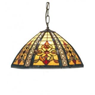 WOHNAMBIENTE Tiffany Hängelampe Ornament Art.-Nr.: DT 16288 + C2 Schirm d= 40 cm, Kettenlänge incl. Baldachin 60 cm, Fassung 2 x E27.