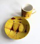 "WOHNAMBIENTE Porzellan, Geschirr Art.-Nr.: O 118 Porzellan-Espressoset "" Fourmies a l'ombrelle"" von ONA. Maße: Tasse h= 5, 5 cm, d= 5, 2 cm, Teller d= 11 cm, h= 2 cm."