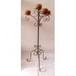 WOHNAMBIENTE Kerzenständer, Kerzenhalter Art.-Nr.: AV 610 R Maße: d= 39 cm, Fußausladung 33 cm, h= 81 cm. 3-armig und 1 Mittelkerze (Lieferung ohne Kerzen)