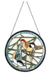 WOHNAMBIENTE Tiffany-Fensterbild Art.-Nr.: DTCPM 73 Größe d= 53 cm, 204 Glasteile. komplett mit Kettenaufhängung.