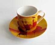 """WOHNAMBIENTE Porzellan, geschirr Art.-Nr.: O 113 Porzellan-Espressoset """" Flanerie"""" von ONA. Maße: Tasse h= 5, 5 cm, d= 5, 2 cm, Teller d= 11 cm, h= 2 cm."""