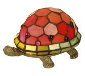 WOHNAMBIENTE Tiffany Tischlampe Art.-Nr.: M 197 R Breite ca. 21 cm, Fassung 1 x E14 max. 15 Watt. Tiffany Lampe Schildkröte Lieferung komplett mit Leuchtmittel. Auch in den Farben Grün, Beige, Blau und Pearl lieferbar (entsprechend den Abbildungen).