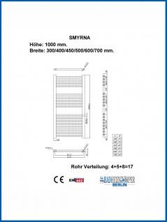 Badheizkörper SMYRNA Weiß 400 x 1000 mm. Gerade oder Gebogen - Vorschau 4