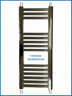 Badheizkörper LIDYA Hochglanz Chrom 1000 x 400 mm. Gebogen Standardanschluss - Vorschau 5