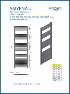 Badheizkörper SMYRNA Weiß 400 x 1500 mm. Gebogen Standardanschluss inkl. 2 Stück Handtuchhalterungen - Vorschau 3