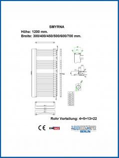 Badheizkörper SMYRNA Weiß 450 x 1200 mm. Gerade oder Gebogen - Vorschau 3