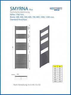 Badheizkörper SMYRNA Weiß 400 x 1760 mm. Gebogen Standardanschluss inkl. 2 Stück Handtuchhalterungen - Vorschau 3