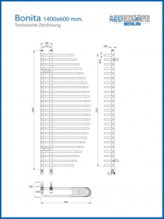 Design Badheizkörper BONITA Weiß 1400 x 600 mm. Badheizkörper mit Ventile - Vorschau 3
