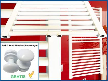Badheizkörper SMYRNA Weiß 500 x 1600 mm. Gerade mit Mittelanschluss inkl. 2 Stück Handtuchhalterungen