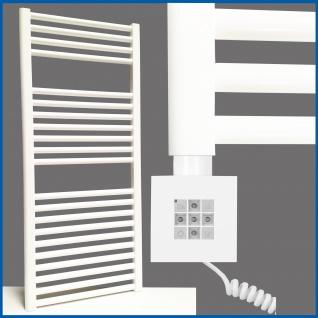 Elektro Badheizkörper MORA 1207 x 500 mm. Weiß rein elektrisch mit KTX2