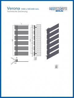 Designbadheizkörper VERONA Weiß 1400 x 500 mm. Handtuchwärmer - Vorschau 3