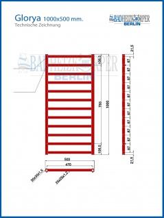 Badheizkörper GLORYA Weiß 1000 x 500 mm. Handtuchwärmer - Vorschau 3