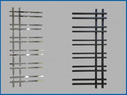 Design Badheizkörper VENTO Schwarz oder Hochglanz Chrom 1200 x 550 mm.