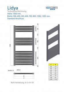 Badheizkörper LIDYA Chrom 1000 x 700 mm. Gebogen Standardanschluss - Vorschau 3