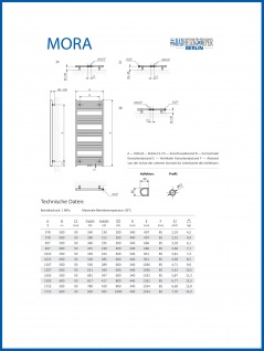 Elektro Badheizkörper MORA 1022 x 600 mm. Weiß rein elektrisch Handtuchwärmer - Vorschau 5