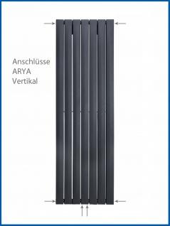 Paneel Heizkörper Badheizkörper ARYA Vertikal Schwarz Breite: 528 mm. Höhe: 1200 mm. - Vorschau 5