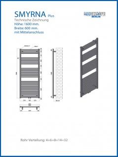 Badheizkörper SMYRNA Weiß 600 x 1600 mm. Gerade mit Mittelanschluss inkl. 2 Stück Handtuchhalterungen - Vorschau 2
