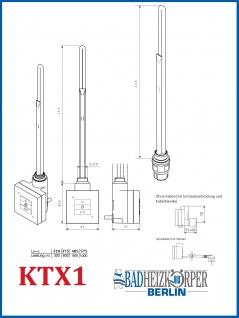 Heizstab , Heizpatrone Heizelement mit Steuerung für Badheizkörper KTX 1 Chrom - Vorschau 4