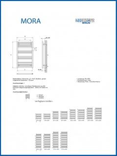 Elektro Badheizkörper MORA 1725 x 500 mm. Weiß rein elektrisch mit KTX2 - Vorschau 4