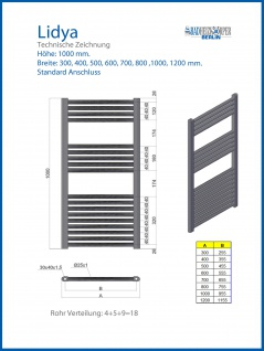 Badheizkörper LIDYA Hochglanz Chrom 1000 x 500 mm. Gebogen Standardanschluss - Vorschau 3