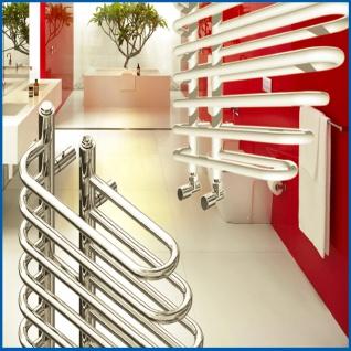 Design Badheizkörper BONITA Weiß 1400 x 600 mm. Badheizkörper mit Ventile - Vorschau 2