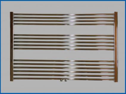 Badheizkörper LIDYA PLUS 800 x 1200 mm. Hochglanz Chrom Gerade mit Mittelanschluss Sondermaß