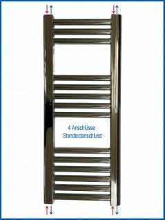 Badheizkörper LIDYA Hochglanz Chrom 1500 x 600 mm. Gebogen Standardanschluss - Vorschau 5
