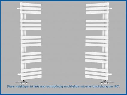 Designbadheizkörper VERONA Weiß 1400 x 500 mm. Handtuchwärmer - Vorschau 4