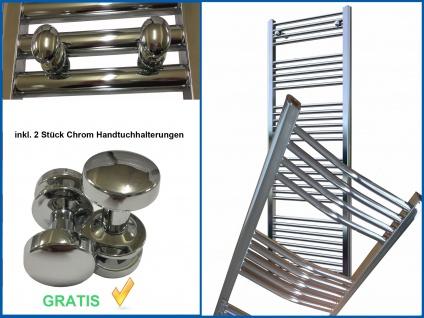 Badheizkörper LIDYA Hochglanz Chrom 1200 x 600 mm. Gebogen Standardanschluss
