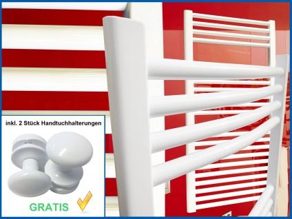 Badheizkörper SMYRNA Weiß 400 x 1500 mm. Gebogen Standardanschluss inkl. 2 Stück Handtuchhalterungen