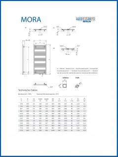 Elektro Badheizkörper MORA 1207 x 500 mm. Weiß rein elektrisch Handtuchwärmer - Vorschau 5