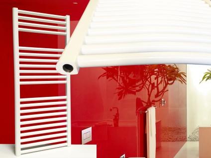 Badheizkörper SMYRNA Weiß 700 x 1500 mm. Gebogen Standardanschluss inkl. 2 Stück Handtuchhalterungen - Vorschau 2
