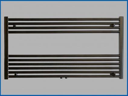 Badheizkörper SMYRNA Plus Schwarz 1200 x 600 mm. mit Mittelanschluss SONDERMAß