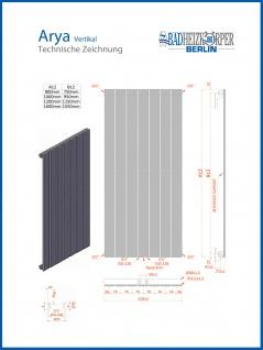 Paneel Heizkörper Badheizkörper ARYA Vertikal Schwarz Breite: 528 mm. Höhe: 1200 mm. - Vorschau 4