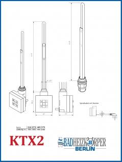 Elektro Badheizkörper MORA 1022 x 500 mm. Weiß rein elektrisch mit KTX2 - Vorschau 3