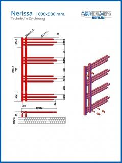Designbadheizkörper NERISSA Weiß 1000 x 500 mm. - Vorschau 4