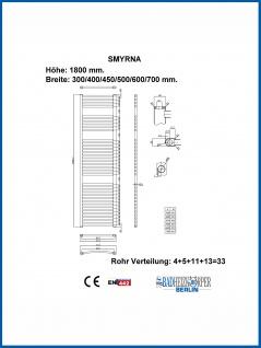 Badheizkörper SMYRNA Weiß 450 x 1800 mm. Gerade oder Gebogen - Vorschau 3