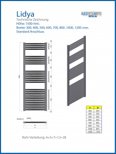 Badheizkörper LIDYA Hochglanz Chrom 1500 x 500 mm. Gebogen Standardanschluss - Vorschau 2