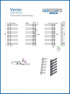 Design Badheizkörper VENTO Schwarz Anthrazit 1200 x 550 mm. - Vorschau 5