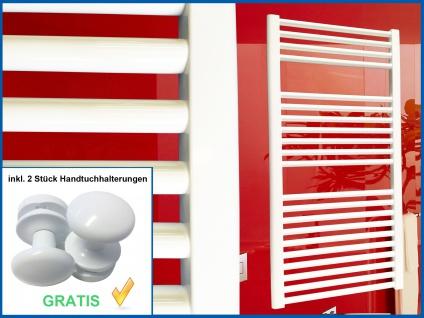 Badheizkörper SMYRNA Weiß 600 x 1500 mm. Gerade Standardanschluss inkl. 2 Stück Handtuchhalterungen